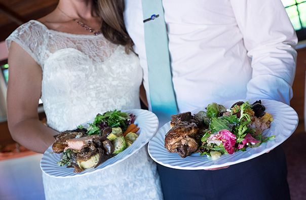 Bride and Groom with Buffet Dinner Plates