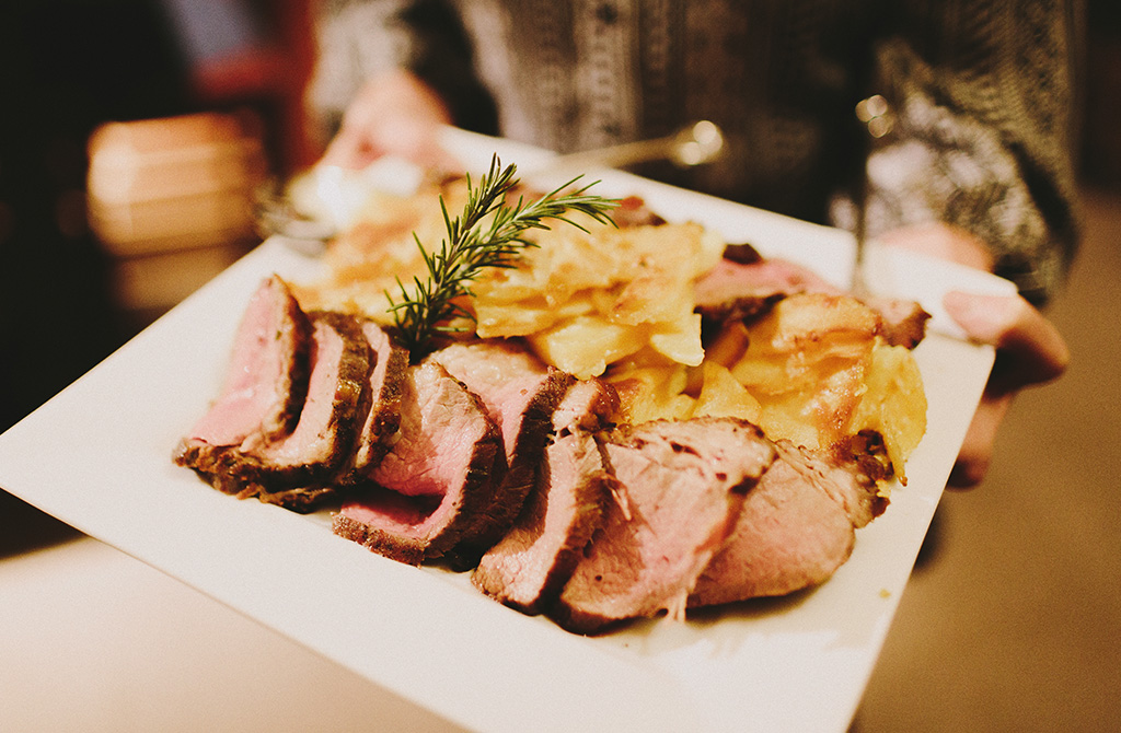 Family Style Platter of Tri-tip and Au Gratin Potatoes