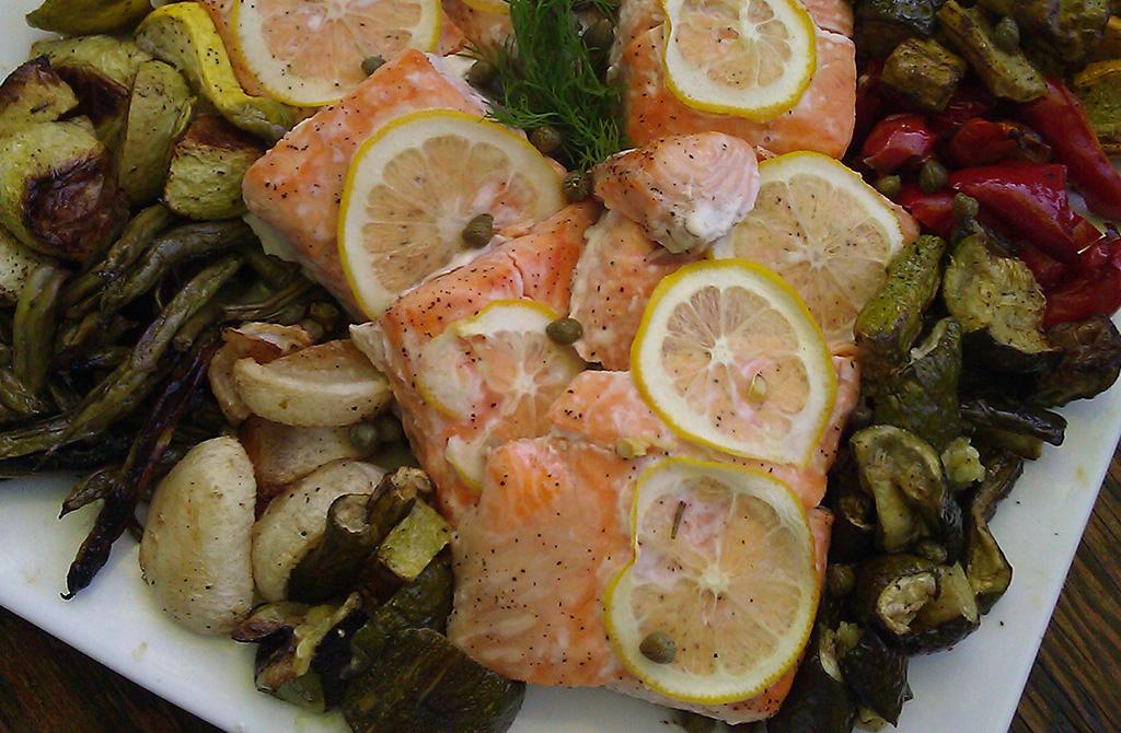 Family Style Platter with Roasted Salmon and Vegetables