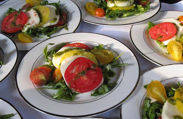 First Course Tomato Mozzarella Salads